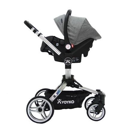 Yoyko 360 Derece Dönebilen Bebek Arabası 3 in 1 Gri Silver Kasa - Thumbnail