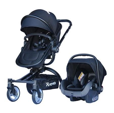 Yoyko - Yoyko 360 Derece Dönebilen Bebek Arabası 3 in 1 Siyah Siyah Kasa