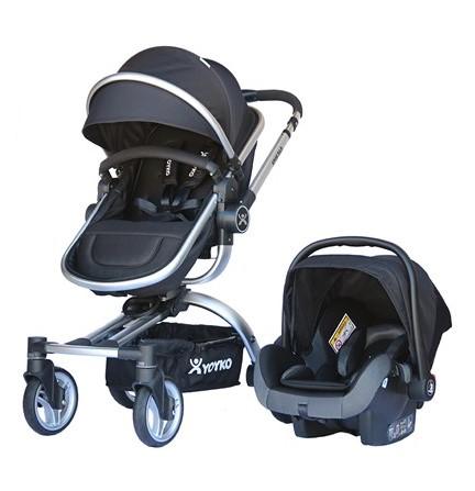 Yoyko - Yoyko 360 Derece Dönebilen Bebek Arabası 3 in 1 Siyah Silver Kasa
