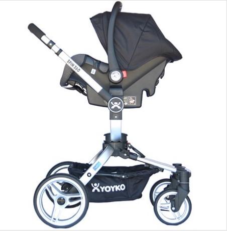 Yoyko 360 Derece Dönebilen Bebek Arabası 3 in 1 Siyah Silver Kasa - Thumbnail