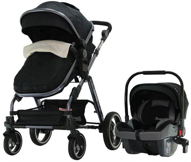 Yoyko - Yoyko Deluxe GT Travel Sistem Bebek Arabası 3 in 1 Siyah Füme (TKY065)