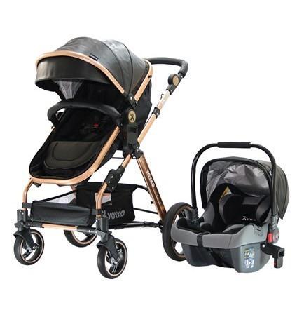 Yoyko - Yoyko Deluxe Travel Sistem Bebek Arabası 3 in 1 Siyah Rose Deri