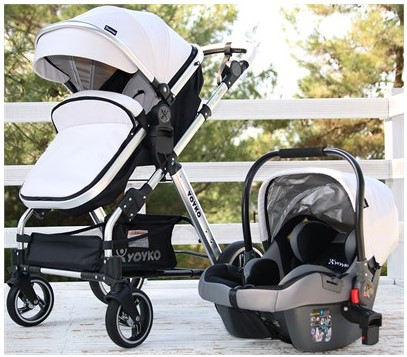 Yoyko - Yoyko Deluxe Travel Sistem Bebek Arabası 3 in 1 Beyaz Silver Deri