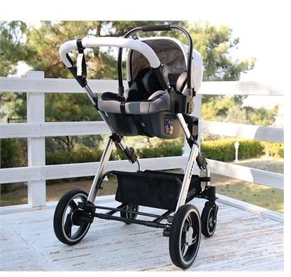 Yoyko Deluxe Travel Sistem Bebek Arabası 3 in 1 Beyaz Silver Deri - Thumbnail