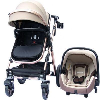 Yoyko - Yoyko Luxury Seyahat Sistem Bebek Arabası 3 İn 1 Kahve Rose