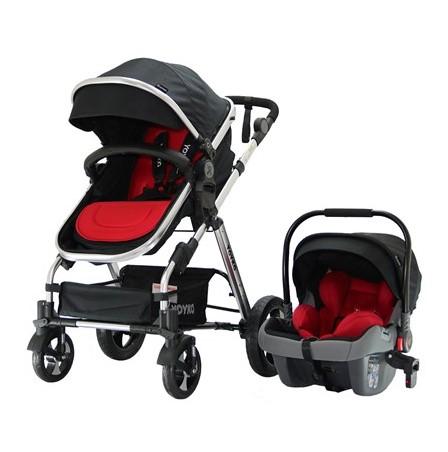 Yoyko - Yoyko Luxury Travel Sistem Bebek Arabası 3 in 1 Siyah Kırmızı Silver