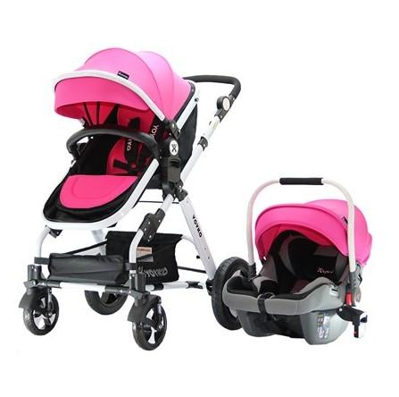 Yoyko - Yoyko Luxury Travel Sistem Bebek Arabası 3 in 1 Pembe Beyaz
