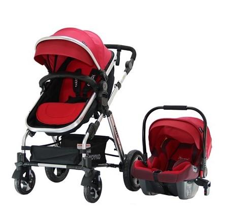 Yoyko - Yoyko Luxury Travel Sistem Bebek Arabası 3 in 1 Kırmızı Silver
