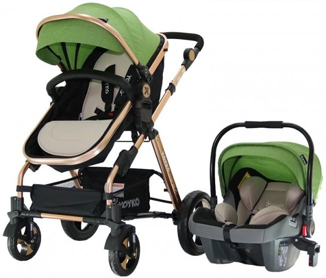 Yoyko - Yoyko Luxury Travel Sistem Bebek Arabası 3 in 1 Yeşil Rose