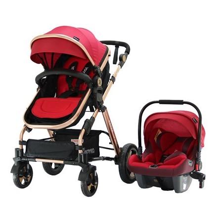 Yoyko - Yoyko Luxury Travel Sistem Bebek Arabası 3 in 1 Kırmızı Rose