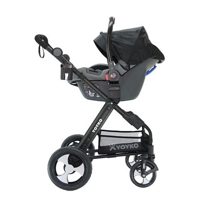 Yoyko Luxury Travel Sistem Bebek Arabası 3 in 1 Siyah Siyah - Thumbnail