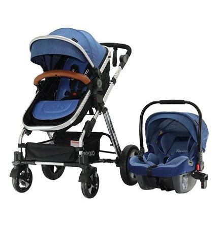 Yoyko - Yoyko Luxury Travel Sistem Bebek Arabası 3 in 1 Mavi Silver